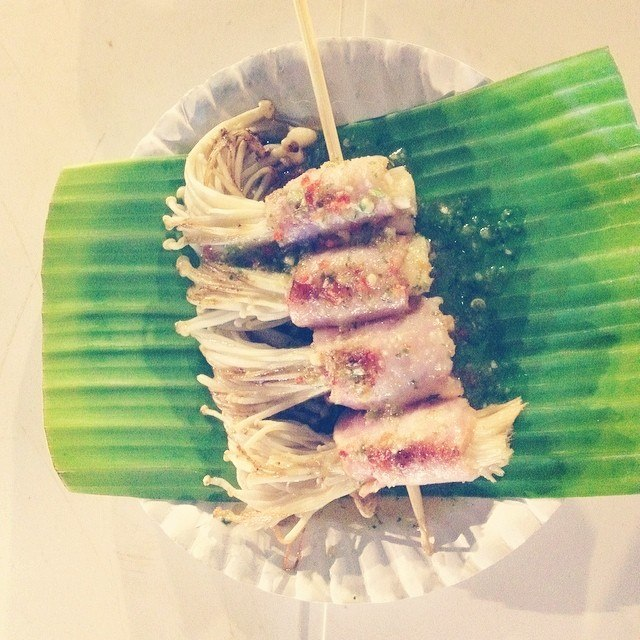 Enoki mushrooms wrapped in bacon